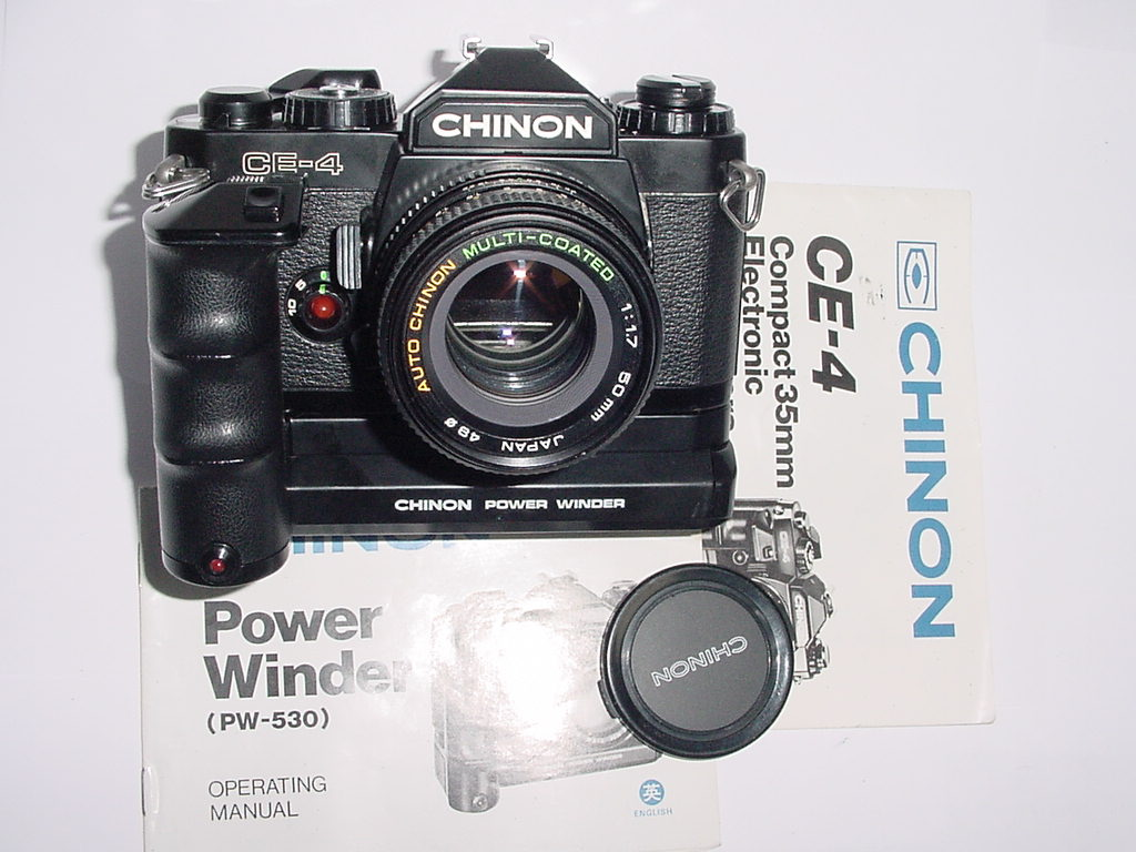 CHINON CE-4 35mm Film SLR Manual Camera with 50mm F/1.7 MC Lens + Motor Drive